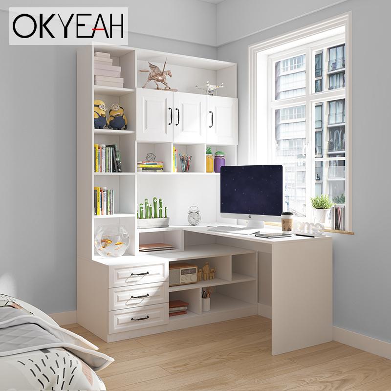 转角连体书桌书柜衣柜组合一体柜家用简约电脑桌定制台式学习桌子
