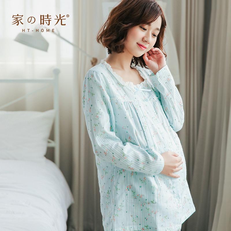 夏季薄款纯棉纱布月子服春秋产后喂奶哺乳衣女产妇出院服孕妇睡衣