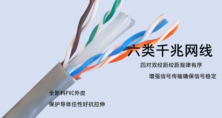 六类网线纯铜高速千兆网线057纯铜网络监控双绞线工程网线电脑线