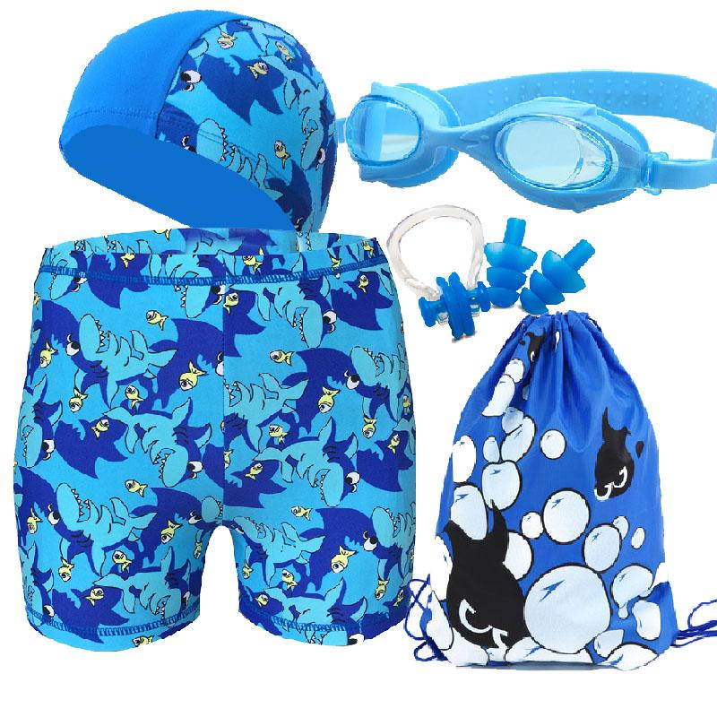 兒童平角泳褲溫泉沙灘泳褲游泳褲泳帽泳鏡套裝卡通學生男孩泳褲