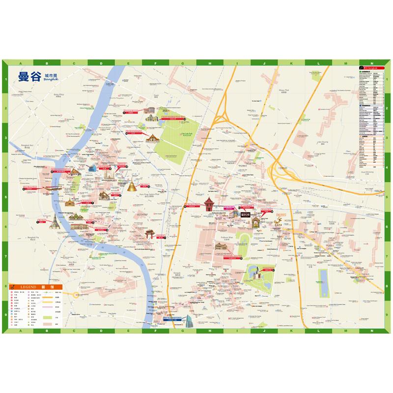 年泰国曼谷城市旅游地图内容中文地图地名中英文对照版行前规划攻略景点推荐交通美食住宿购物地铁周边游 2018 赠旅行手账