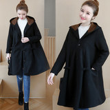 Maternity coat female autumn and winter clothing plus velvet thick coat loose mid-length large size 200 kg winter cape coat