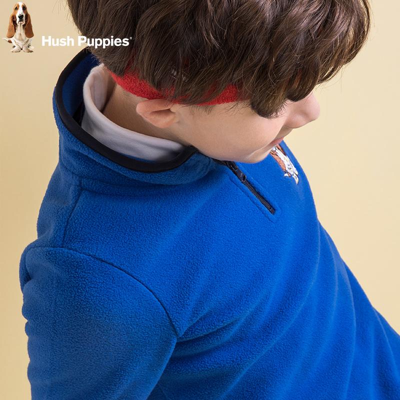 暇步士童装男童加绒卫衣新款秋装套头半拉链中大童男孩儿童抓绒衣