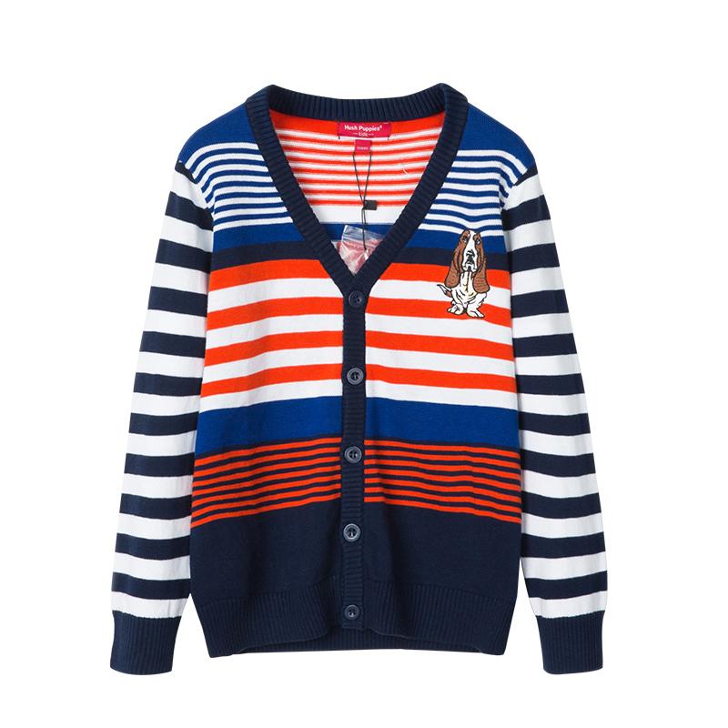 暇步士童装2019新款秋装男童开身线衣男大童针织开衫儿童彩条毛衣