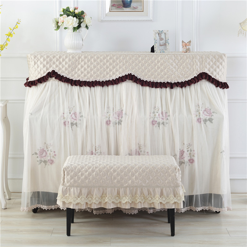 韩式加厚钢琴罩全罩布艺中开钢琴套防尘罩凳罩欧式蕾丝刺绣琴披罩