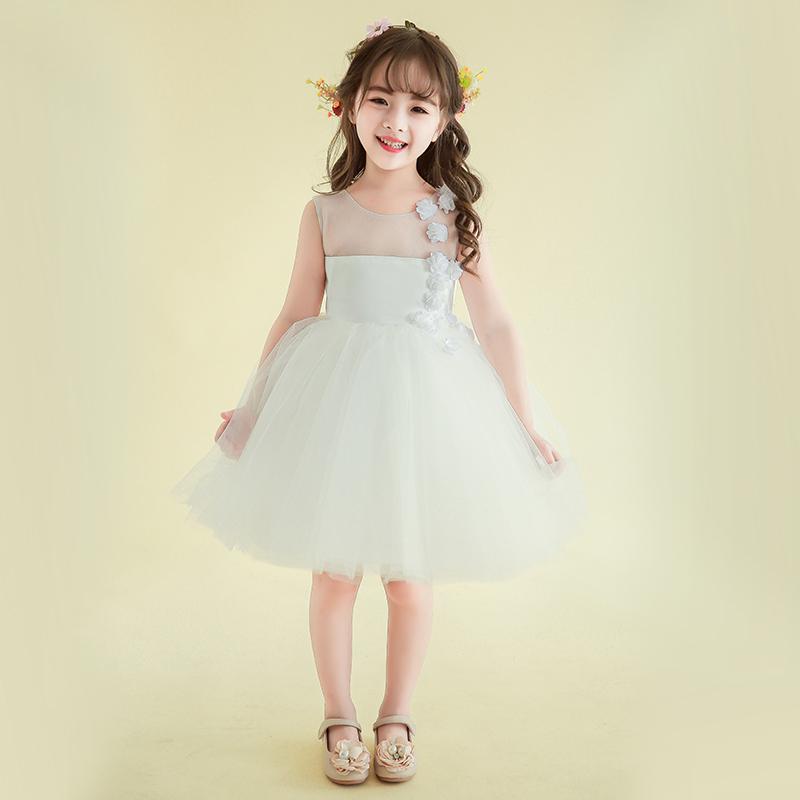 儿童礼服生日公主裙女童模特走秀黑色钢琴演出服花童蓬蓬裙晚礼服