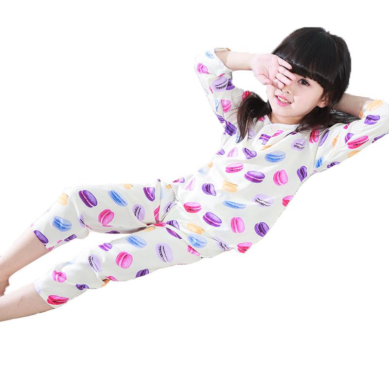 儿童绵绸睡衣夏季男童女童棉绸套装宝宝夏天空调家居服小男孩薄款
