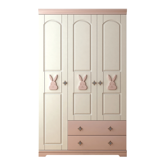 Nordic Rabbit Three DOOR WARDROBE BEDROOM Wooden Storage Cabinet Simple Modern Girl Children's Wardrobe Large Wardrobe