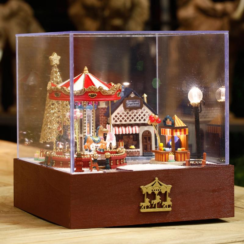 天空之城创意生日礼物送女生 diy 旋转木马音乐盒情人节八音盒木质