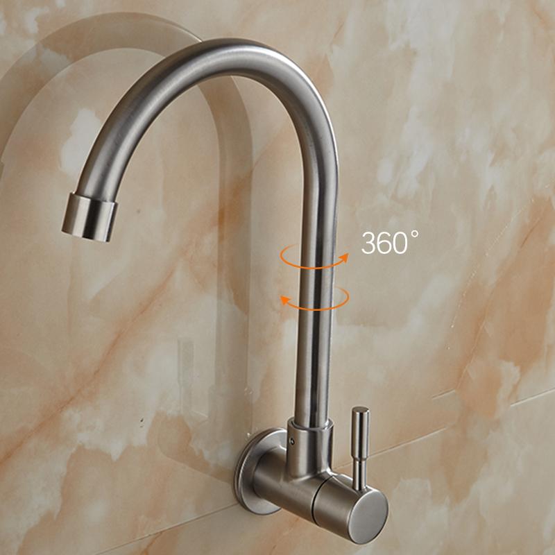 不锈钢水槽厨房洗菜盆万向阳台洗衣池 304 挂墙壁入墙式 水龙头单冷