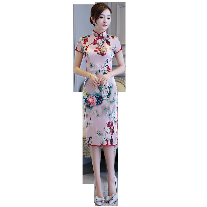 2018新款丝绸印花中长款宴会演出淑女气质连衣裙时尚修身日常旗袍