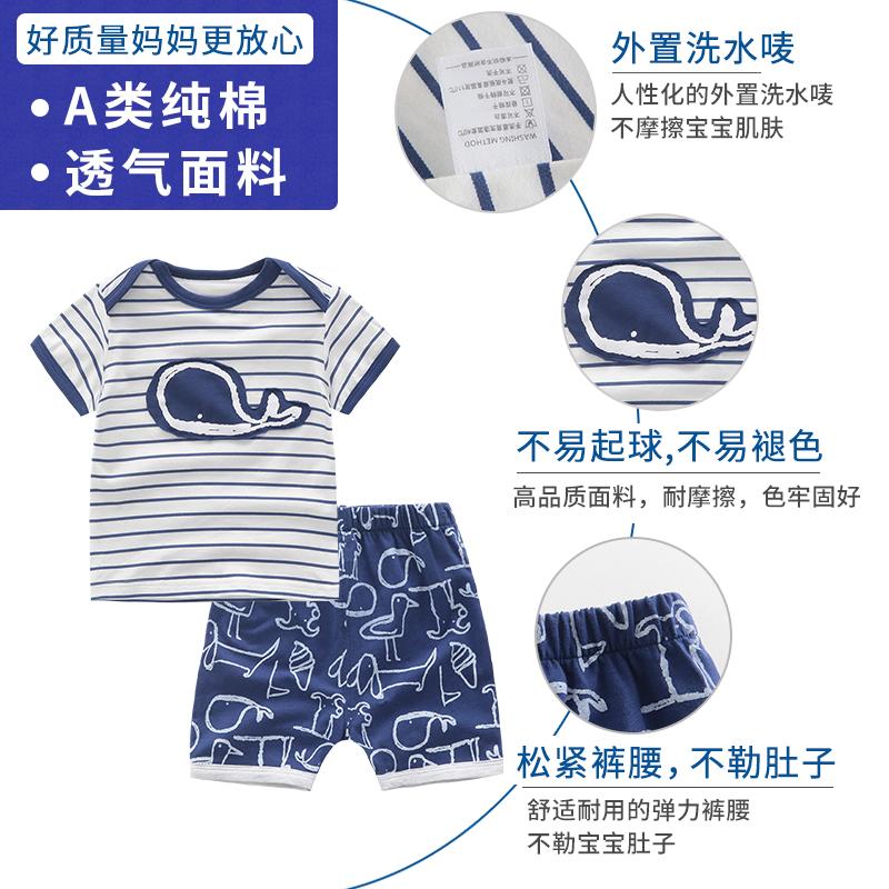 婴儿衣服夏季女童夏装2019新款新生幼儿纯棉两件套男宝宝短袖套装