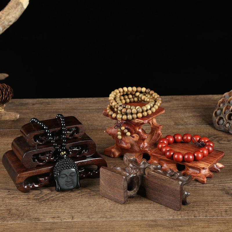 实木质珠宝玉器展示道具项链文玩架佛珠手镯底座复古金刚拍摄摆件