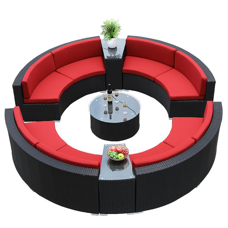 圆形沙发户外沙发环形藤沙发室外花园庭院酒店沙发半圆型沙发藤艺