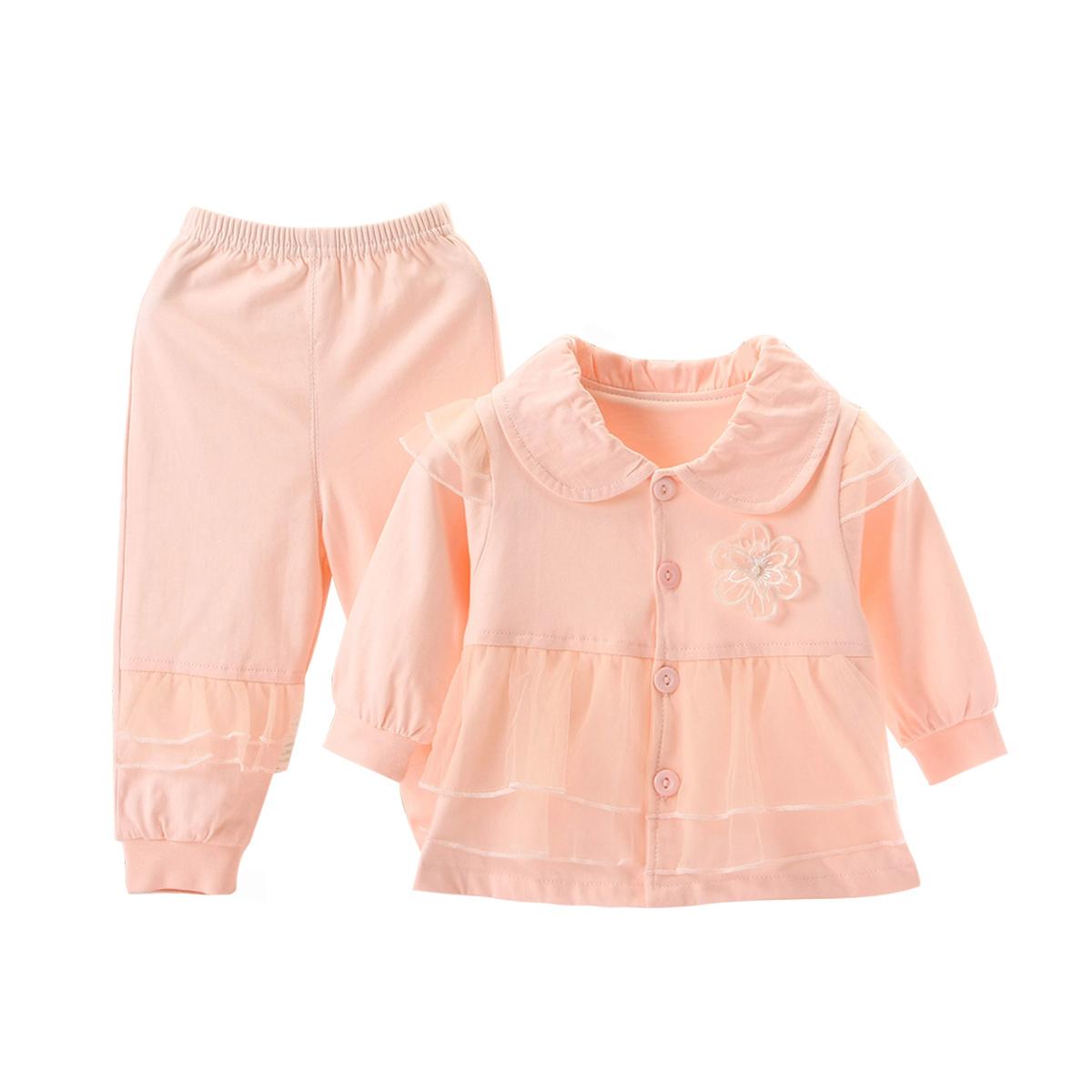 婴儿秋季套装女宝宝双层纯棉外套公主风薄款6个月衣服1岁洋气套装