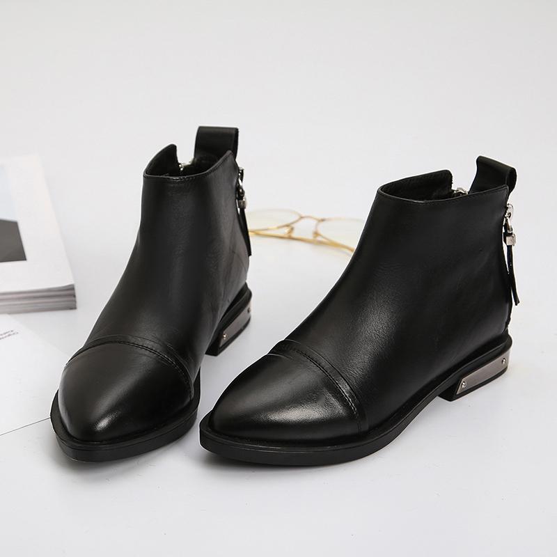 欧洲站2020新款女鞋真皮尖头时尚英伦双拉链女短靴平底马丁靴裸靴