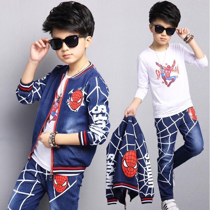 男童春秋套装2017秋款西装韩版儿童装三件套中大童运动牛仔两件套