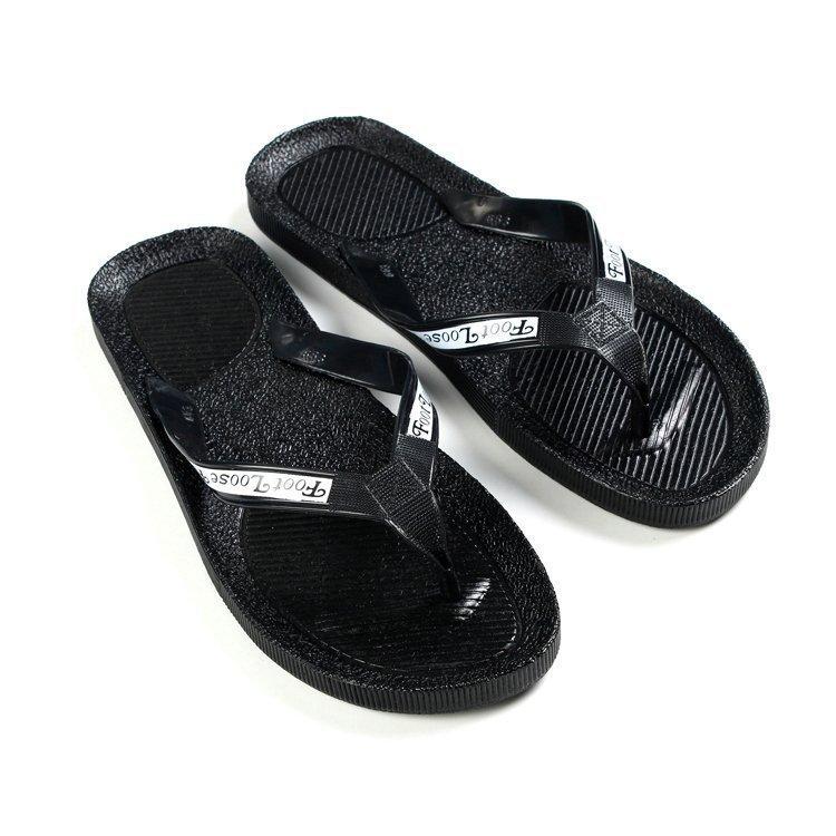男生學生沙灘海邊塑料拖鞋夾趾黑色家用宿舍青年夏季pvc人字涼拖