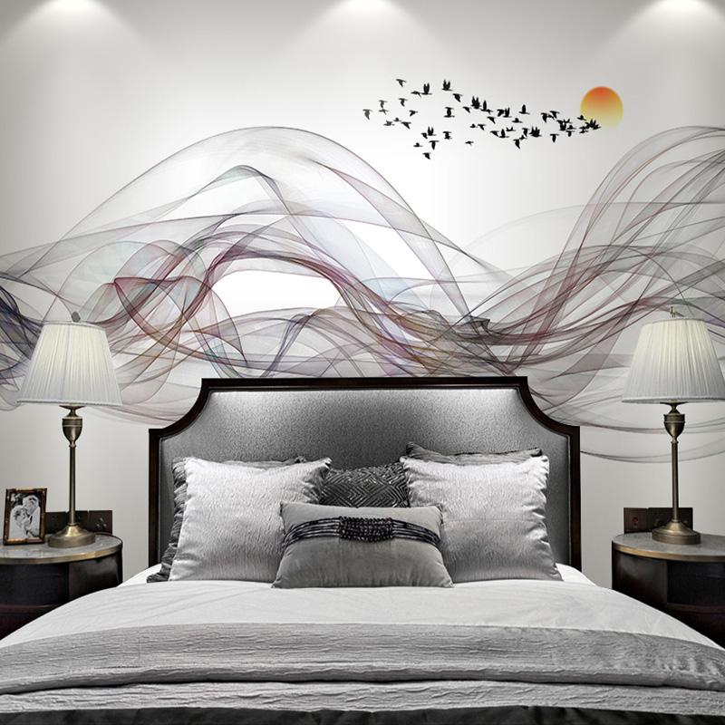 新中式沙发电视背景墙壁画客厅墙布现代写意抽象墙纸山水墨壁纸画