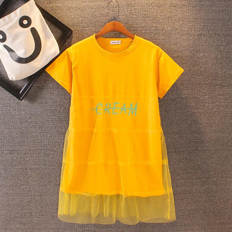恤裙  新款夏季洋气母女连衣裙女童仙女长裙韩版潮 2020 亲子装网纱 T