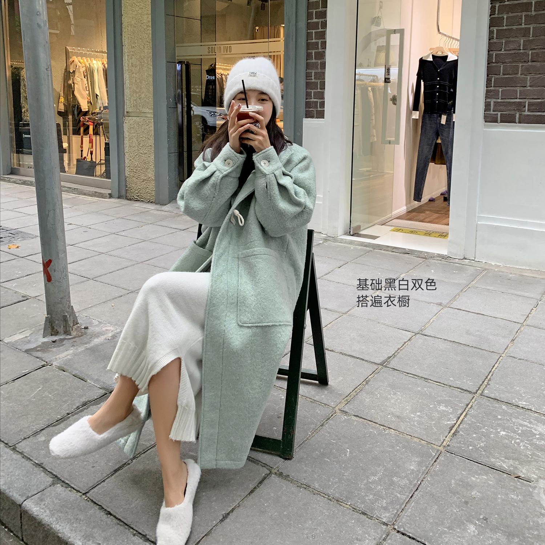 法儿家韩国东大门2020年新款女装秋冬针织圣诞毛衣裙中长款连衣裙