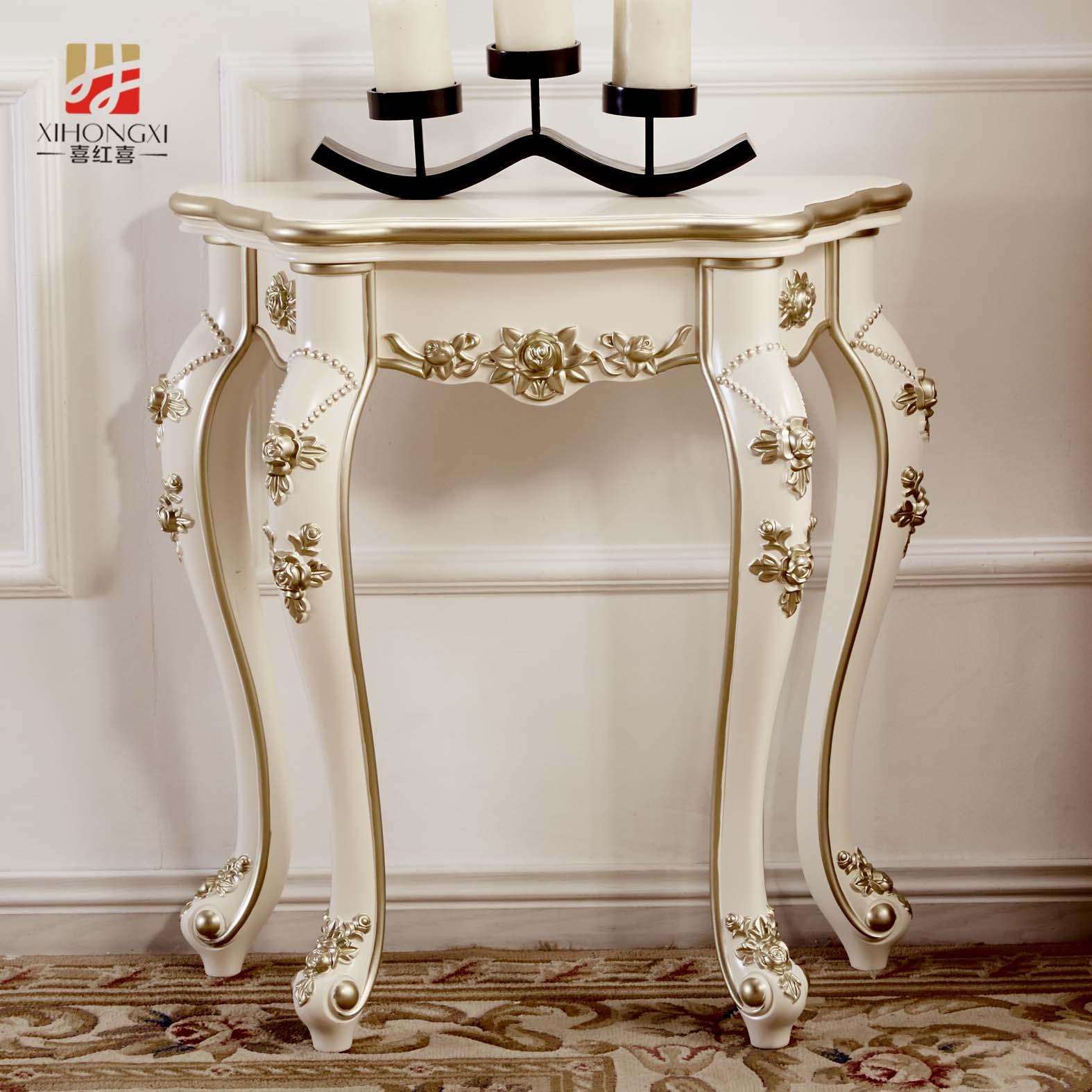 玄关桌欧式象牙白白色靠墙客厅门厅玄关柜环保玄关台半圆沙发背几