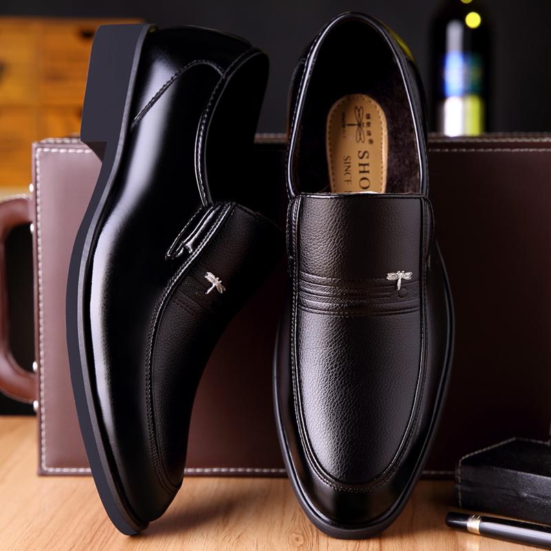 岁中老年人爸爸鞋子 50 休闲 40 冬季皮鞋男真皮黑色商务正装加绒棉鞋