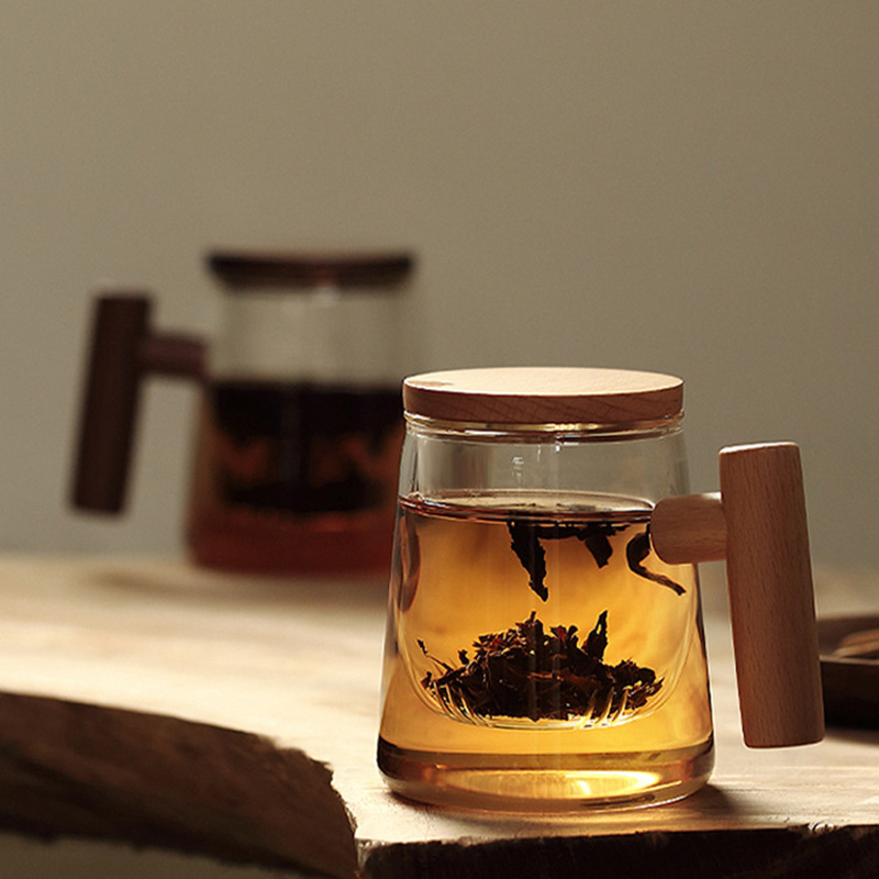 木柄泡茶杯耐热加厚玻璃水杯带盖家用茶水分离过滤花茶绿红茗茶杯