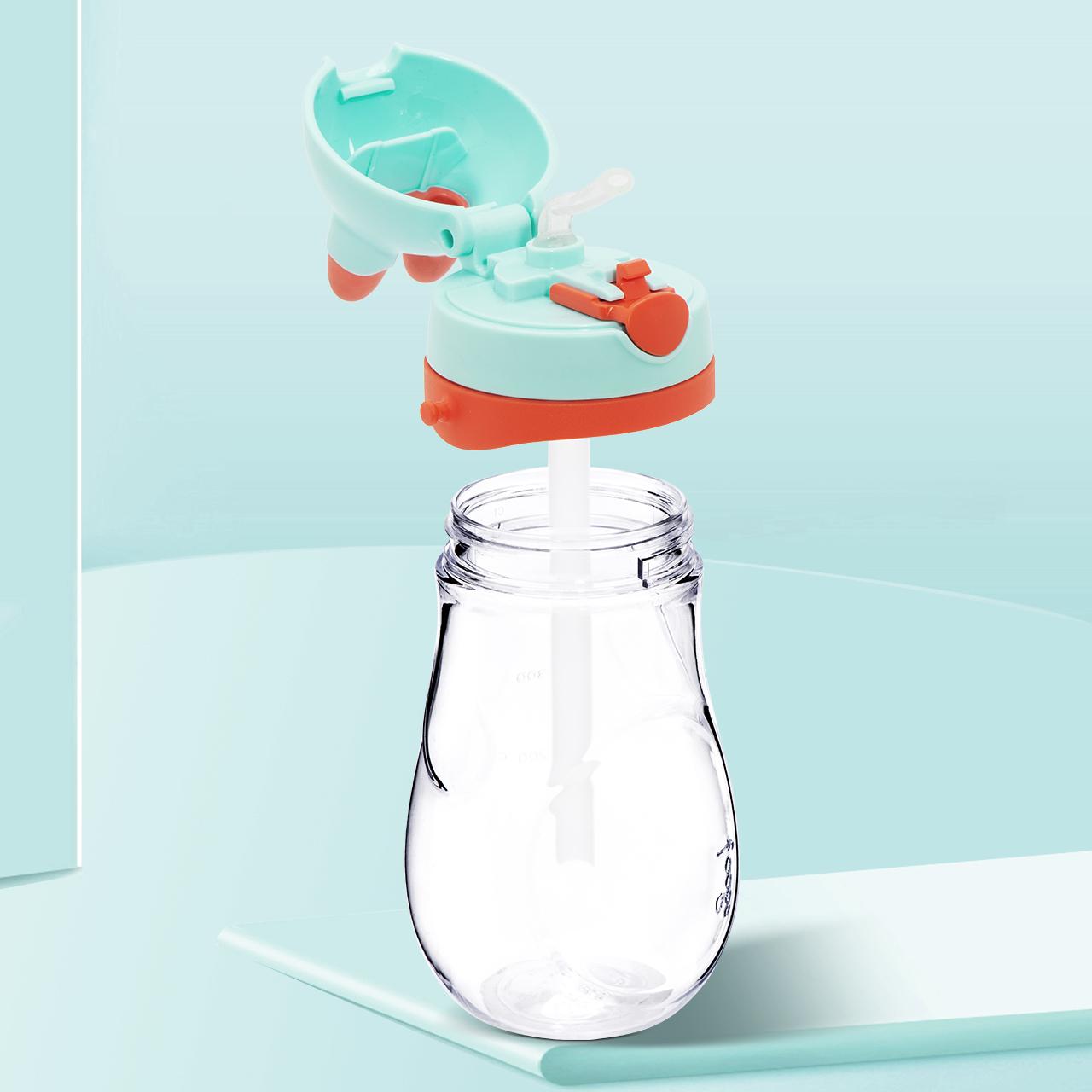 膳魔师宝宝吸管杯 小兔子学饮杯带手柄防摔婴儿水杯1岁儿童喝水杯