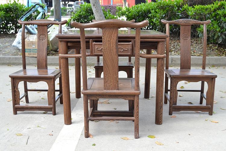 红木家具鸡翅木小方桌实木餐桌椅红木茶桌仿古四方棋牌桌五件套