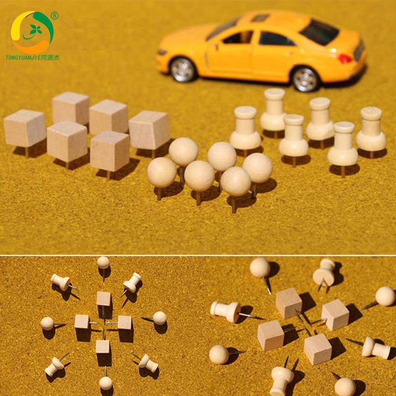 原木图钉按钉软木钉大头钉图钉画方形/圆形/木质工字钉30个装包邮