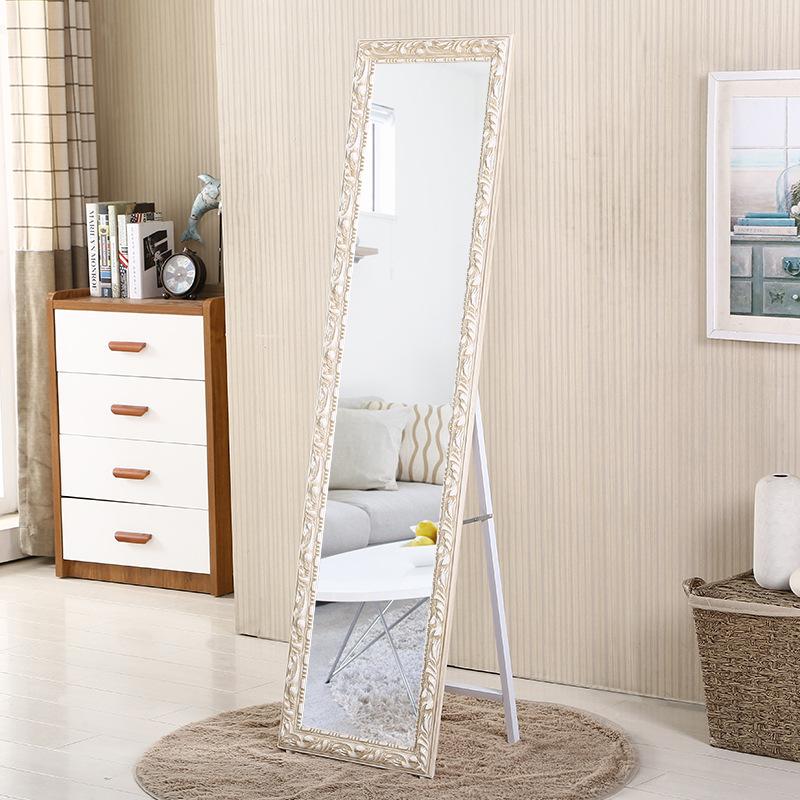厂家直销欧式实木落地壁挂穿衣镜子全身镜化妆镜宿舍服装店试衣镜