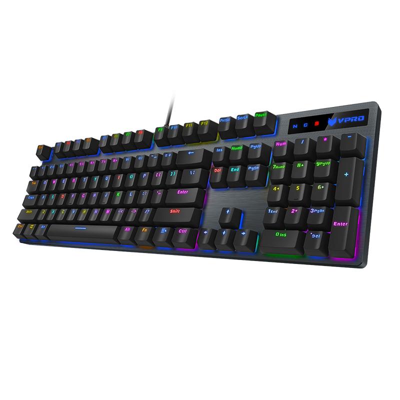 雷柏V500机械键盘青轴黑轴台式笔记本电脑吃鸡键盘电竞游戏键盘