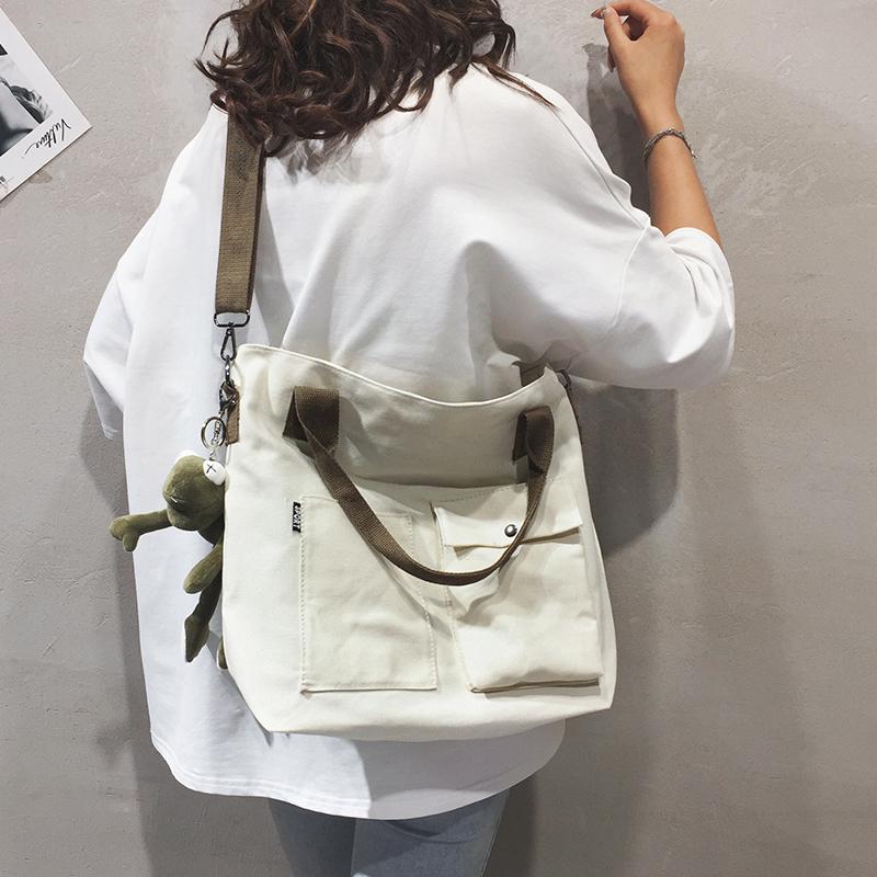 学生上课纯色手提托特布袋包单肩斜挎包潮 2019 帆布大包包女包新款