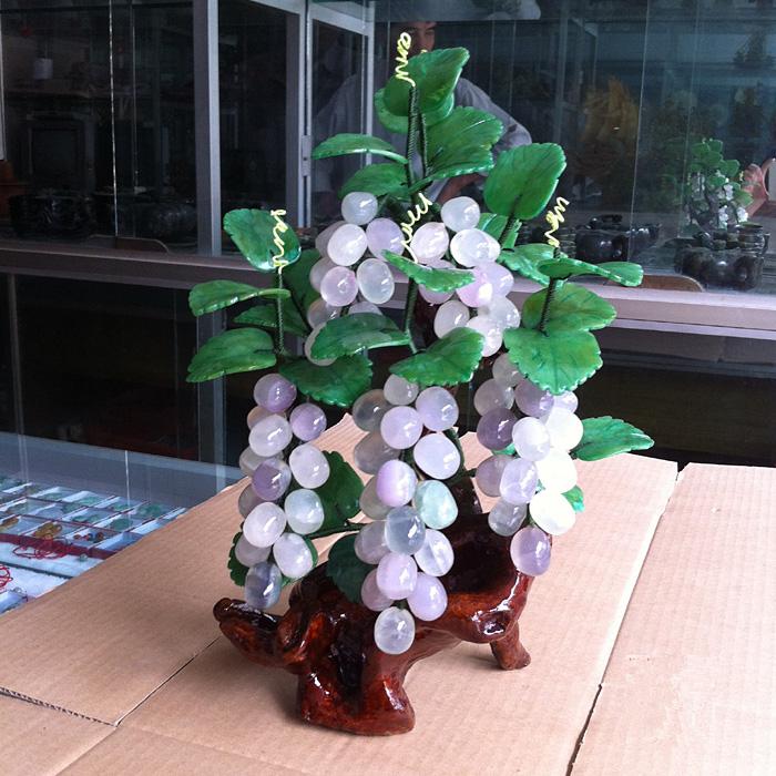 天然紫晶玉石葡萄工藝品客廳玉器家居創意裝飾品玄關酒櫃玉雕擺件