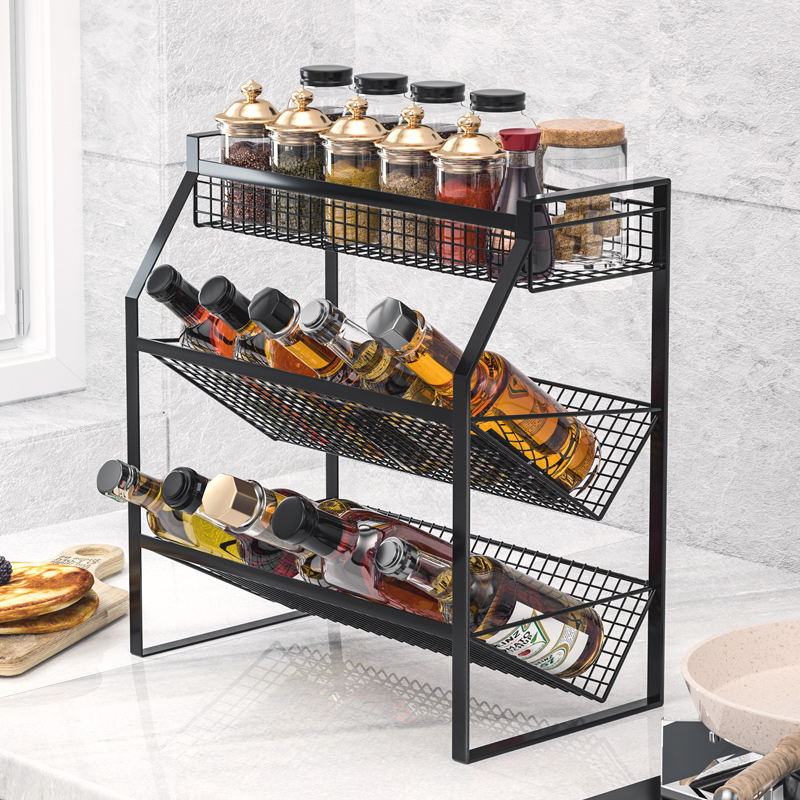 厨房置物架不锈钢调料调味品收纳架台面壁挂架子神器用品家用大全