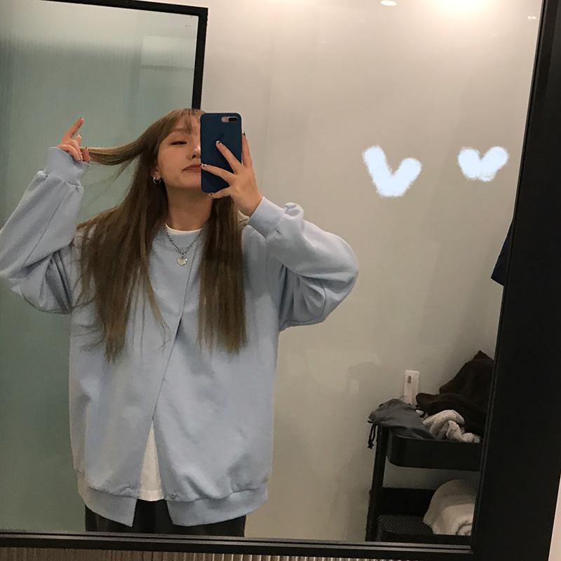 宽松韩版温柔风蓝色设计感上衣