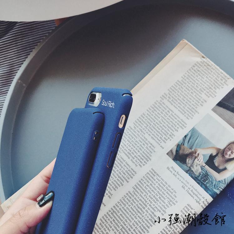ins风简约蓝色纯色苹果X手机壳iphone7plus/8/6S磨砂硬壳套男女款