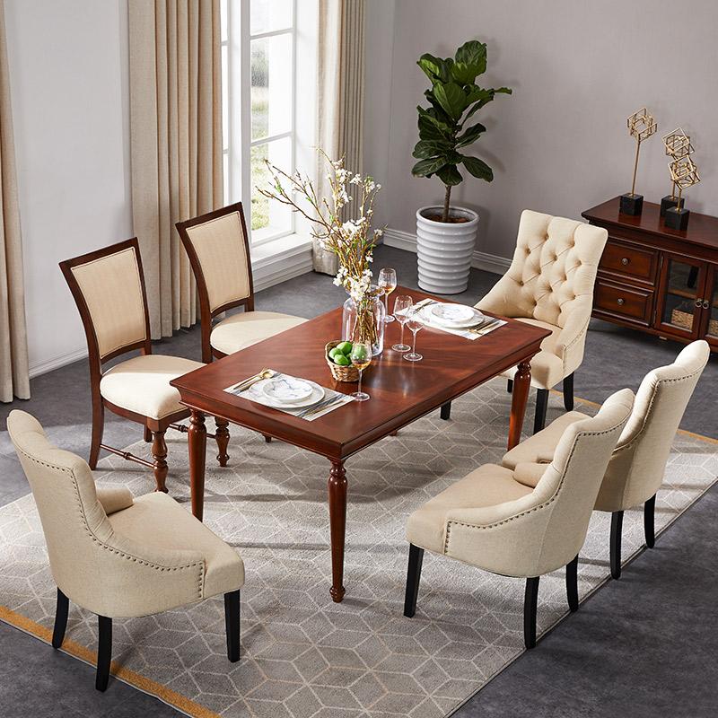 优梵艺术Rock美式简约实木餐桌椅组合一桌六椅长方形吃饭桌子