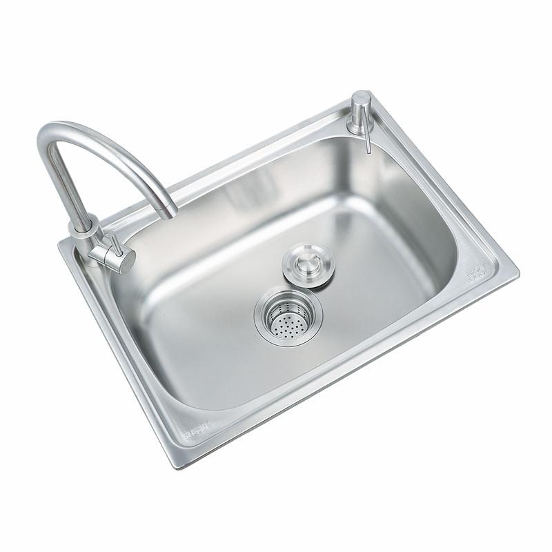 不锈钢水槽洗碗池淘菜盆一体加厚洗手水池套餐 304 厨房洗菜盆单槽