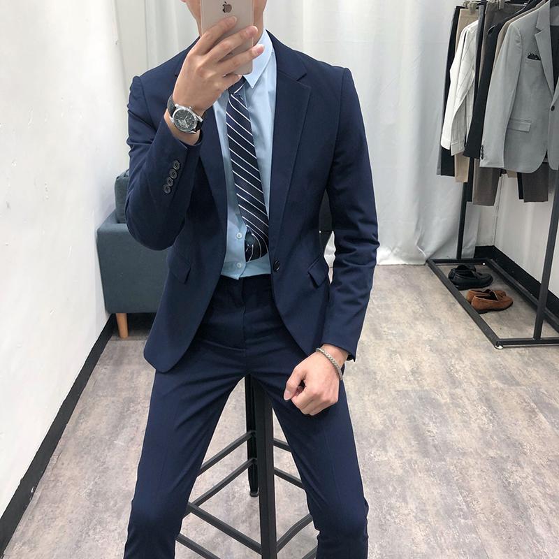 韩国2020新款休闲西装男套装修身韩版潮流帅气青年小西服