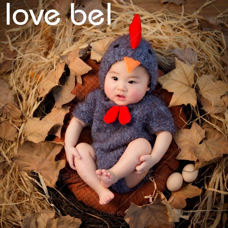 2017展会新款创意小鸡儿童摄影服装百天宝宝拍照服饰周岁留念衣服