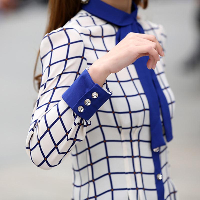 2017年新春夏款女装长袖韩范打底衫学生百搭蝴蝶结雪纺格子衬衫