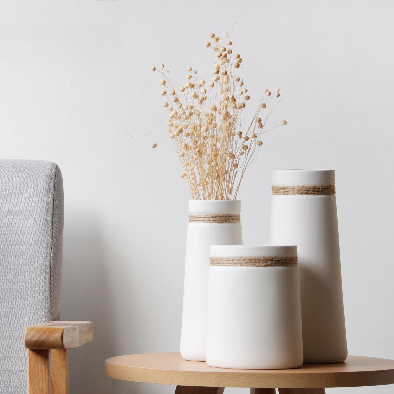 简约现代客厅家居创意摆件白色北欧日式陶瓷文艺水培清新干花花瓶