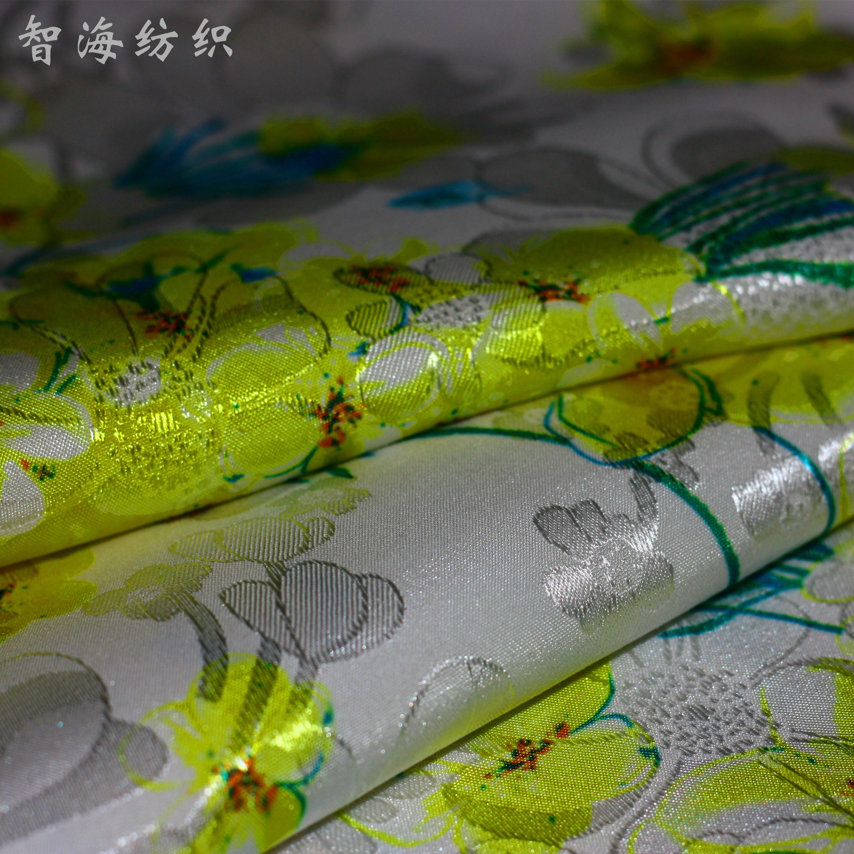 秋季高档弹力印花暗纹提花绸布缎面复古旗袍连衣裙服装布料面料
