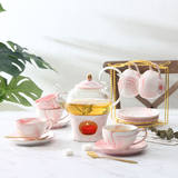 Japanese-style fruit flower boiled teapot flower teacup tea set home cherry glass heat-resistant candle heating