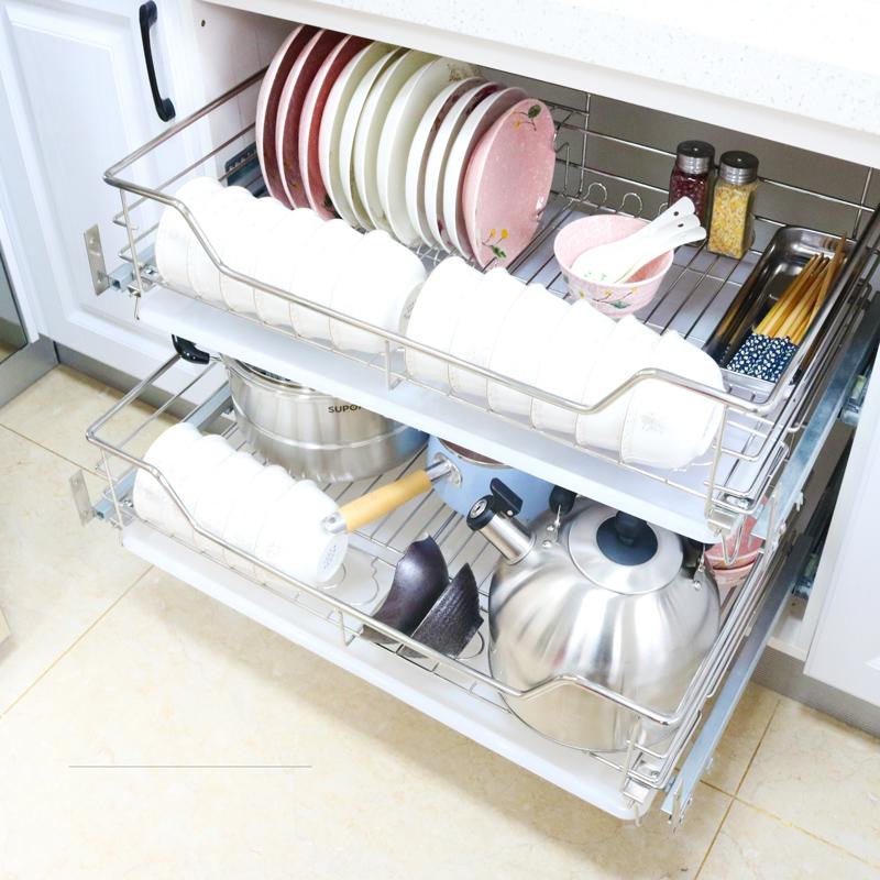 不銹鋼碗籃調味籃雙層碗碟架抽屜式廚房拉籃阻尼 304 廚房櫥柜拉籃