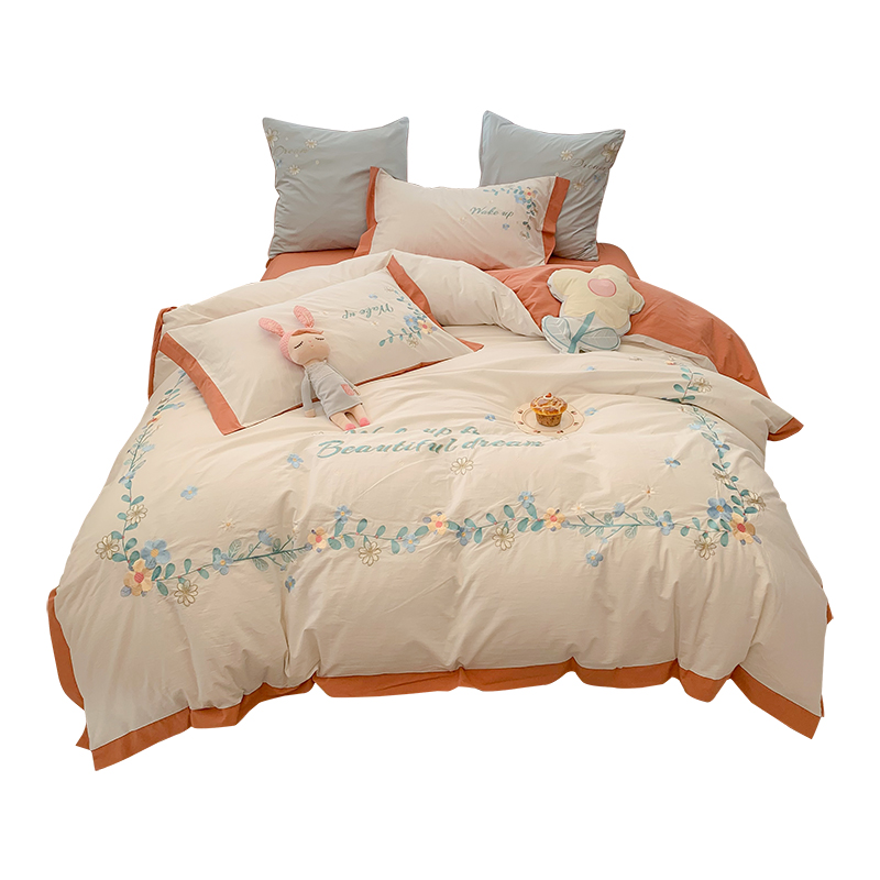 小清新全棉色織水洗棉四件套田園小花刺繡被套柔軟透氣床上用品