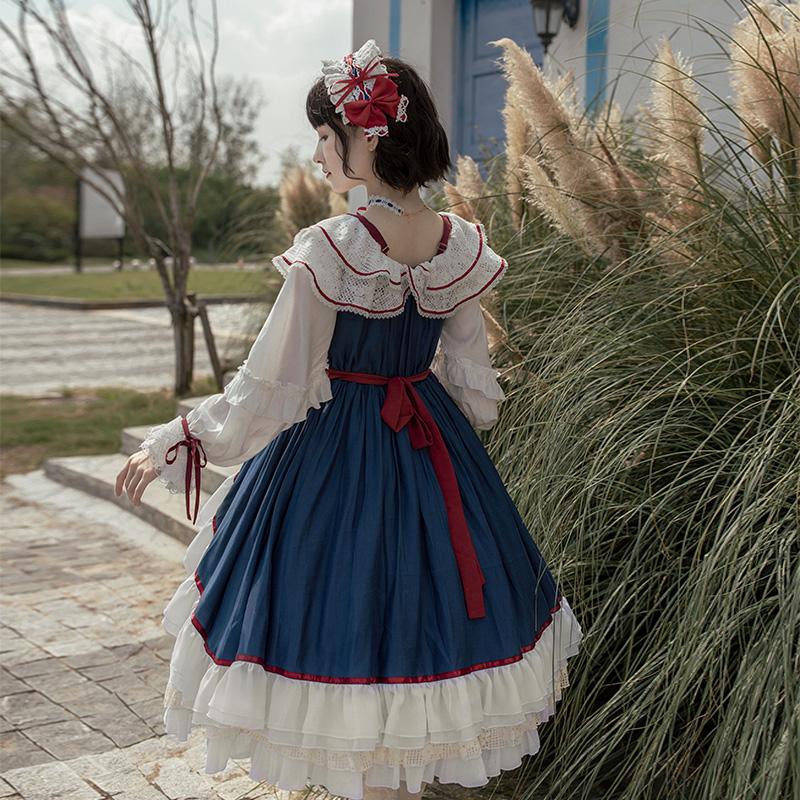 大裙摆 肩膀下拉两穿 洋装 lolita 原创设计 withpuji op 白雪姬