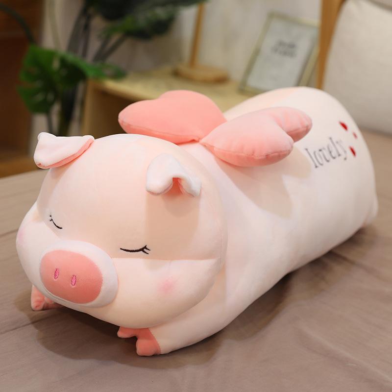 可爱天使猪猪公仔毛绒玩具大号床上睡觉长条抱枕女生玩偶娃娃趴趴